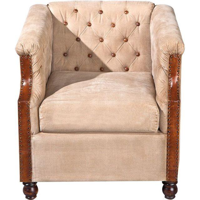 Comforium Fauteuil antique en tissus et cuir coloris beige