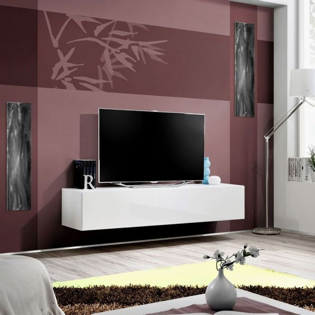 Paris Prix Meuble Tv Mural Design Fly I 160cm Blanc Pas Cher
