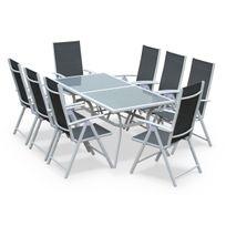 Naevia Blanc / Gris - Salon de jardin en aluminium table 8 places Blanc et gris textilène fauteuil