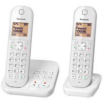 PANASONIC - Téléphone fixe sans fil avec répondeur Duo KX-TGC422FRW