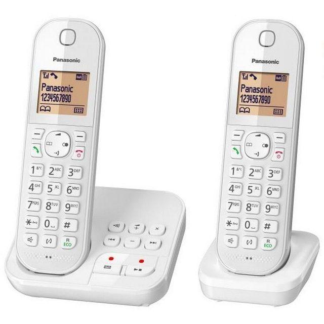PANASONIC Téléphone fixe sans fil avec répondeur Duo KX-TGC422FRW