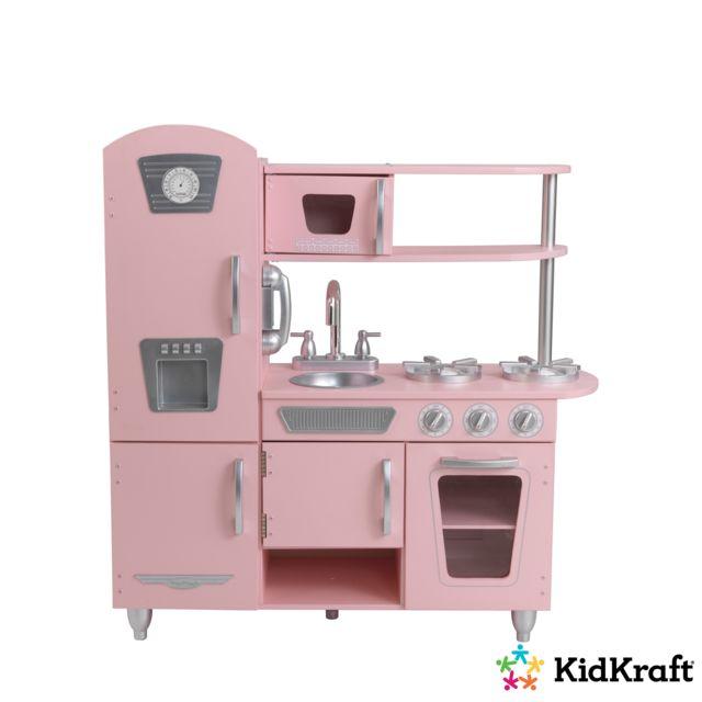 Cuisine Kidkraft Pas Cher | Kidkraft Cuisine Enfant En Bois Vintage Rose 53179 Pas Cher