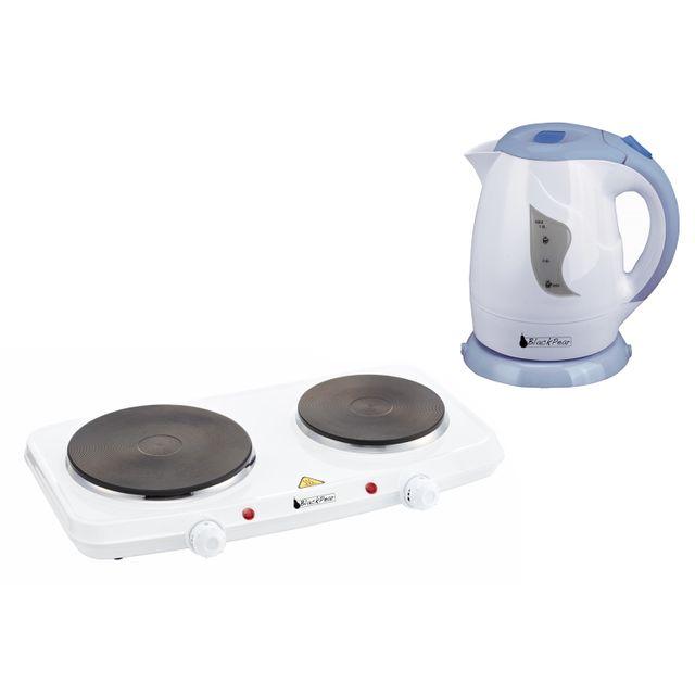 Blackpear Plaque de cuisson 2 feux 2250W antiadhésives + Bouilloire 1L 900W