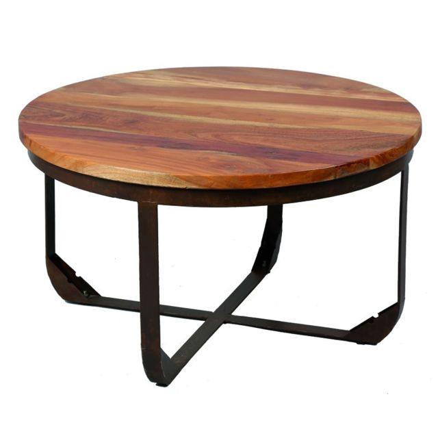 Tousmesmeubles Table basse en bois et métal - Tons