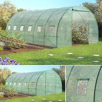 IDMARKET - Grande serre de jardin tunnel 7 arceaux Pro galvanisé 18m² 6x3x2m verte