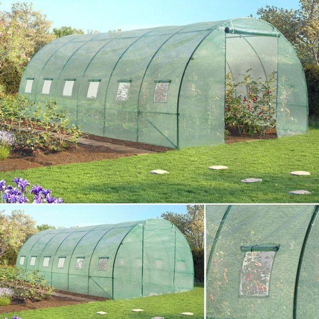 Idmarket grande serre de jardin tunnel 7 arceaux pro galvanis 18m 6x3x2m verte pas cher - Serre de jardin carrefour ...