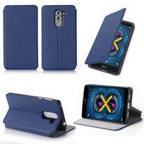 Xeptio - Etui coque luxe Huawei Honor 6X 4G bleu Ultra Slim avec stand - Housse pochette