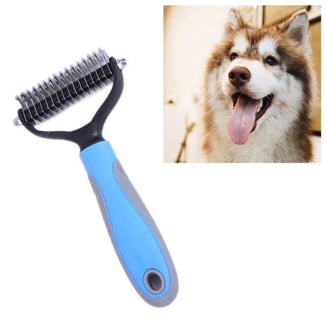 Wewoo Pet Comb Beauty Cleaning Supplies Dog Peigne pour chien en acier inoxydabletaille 18x5cm bleu