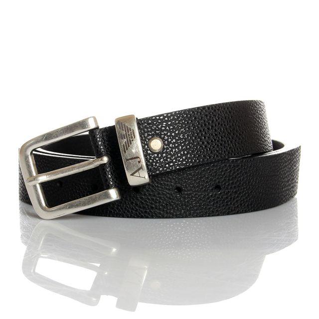Armani - Jeans - Ceinture noire en cuir véritable - pas cher Achat   Vente Ceinture  homme - RueDuCommerce ee22cb4457d
