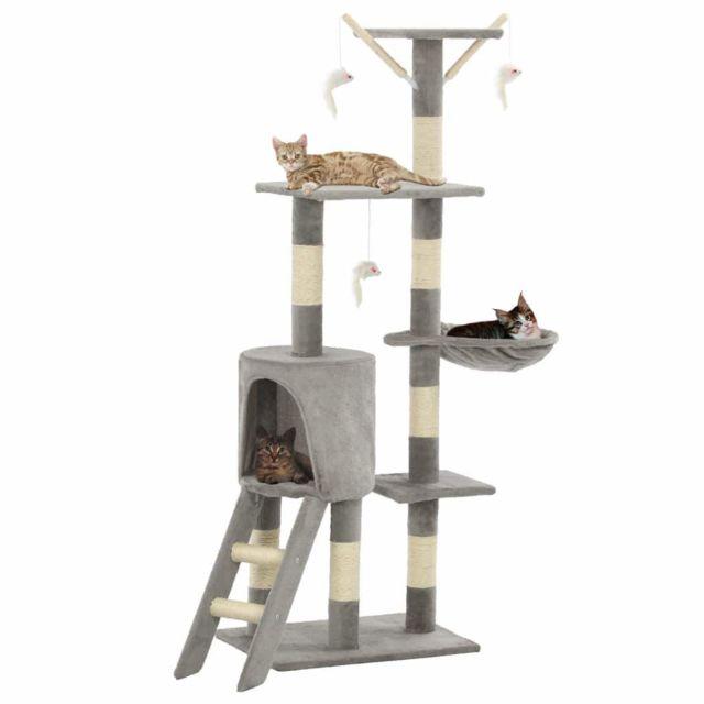 Helloshop26 Arbre à chat griffoir grattoir niche jouet animaux peluché en sisal 138 cm gris 3702036