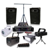Ibiza Sound - Pack sono Dj Ampli 2 x 240 W + Effet pack lumieres