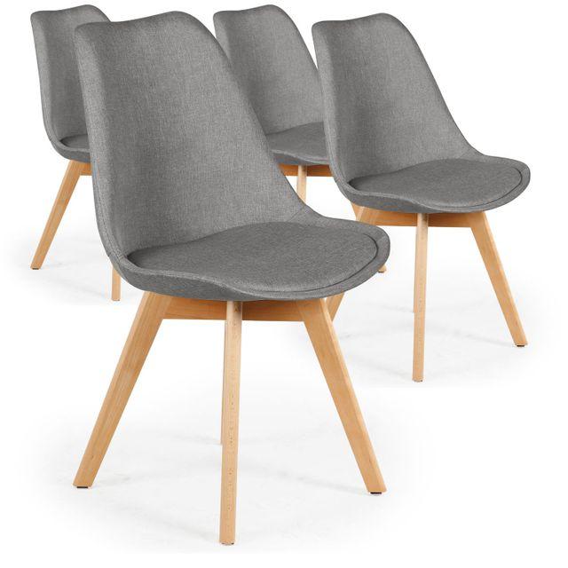 menzzo lot de 4 chaises scandinaves conor tissu gris. Black Bedroom Furniture Sets. Home Design Ideas