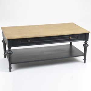 Amadeus table basse en bois bicolore noir et naturel for Table basse en bois noir