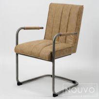 Nouvomeuble Chaise rouge vintage Elise lot de 2 pas cher