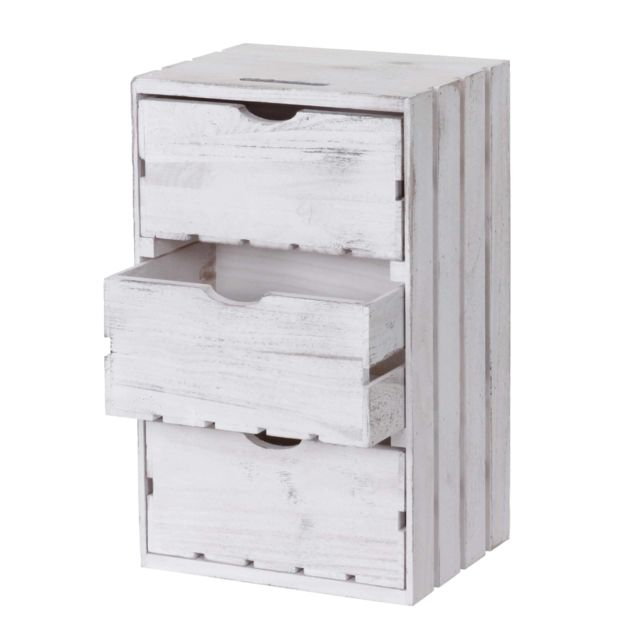 Mendler Commode Hwc-c62, 3 tiroirs, 53x32x26cm ~ blanc shabby