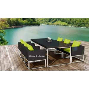 delorm salon jardin 6 places next resine tressee noire coussins vert sans housse de protection. Black Bedroom Furniture Sets. Home Design Ideas