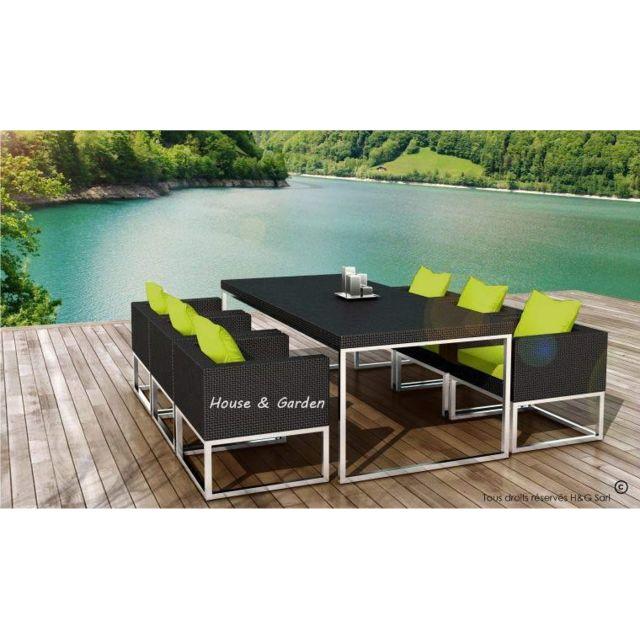 Delorm - Salon Jardin 6 Places Next Resine Tressee Noire ...
