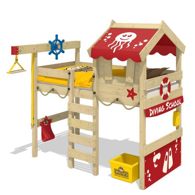 WICKEY Lit mezzanine CrAzY Jelly avec toit en bois Lit pour enfants - rouge