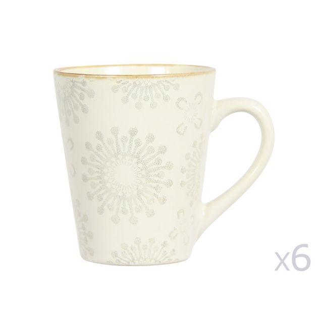 Novastyl Mug en grès 33cl motif floral avec liseret doré - Lot de 6 pièces Mahe