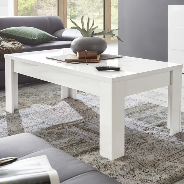Kasalinea Table basse blanc laqué brillant Dominos