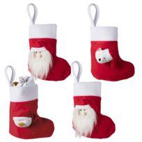 Marque Generique - Lot de 4 bottes de Noël rouges à suspendre avec tête de père noël, bonhomme de neige et ours 22cm
