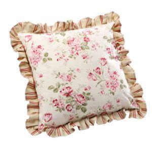 comptoir de famille coussin fleuri volant 100 coton 40x40cm aubade pas cher achat vente. Black Bedroom Furniture Sets. Home Design Ideas