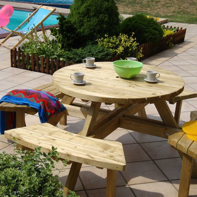 CEMONJARDIN - Table pique-nique ronde en bois avec bancs - pas cher ...