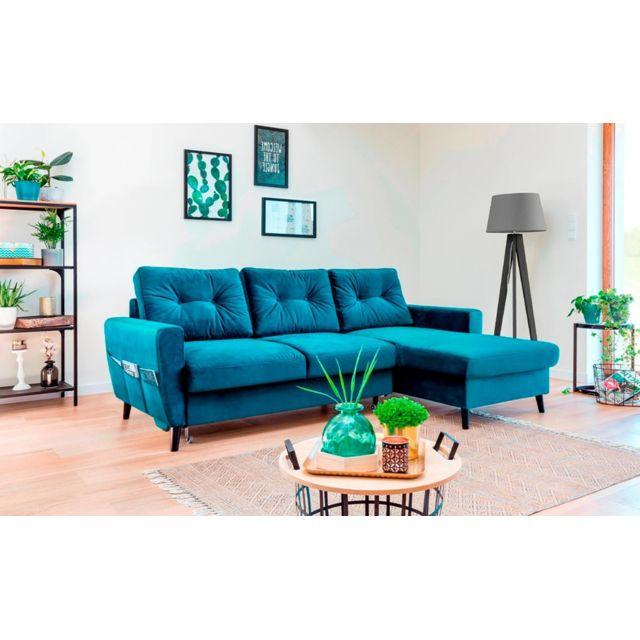 bobochic canap stockholm bleu canard droit achat vente canap s pas chers rueducommerce. Black Bedroom Furniture Sets. Home Design Ideas