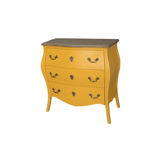 Commode 3 tiroirs jaune moutarde