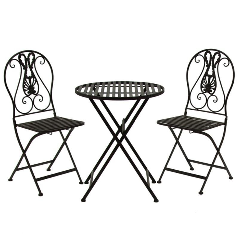 Ensemble Salon de Jardin 2 chaises 1 Table Marron Fer