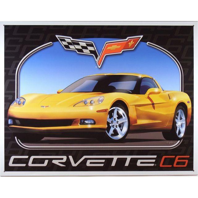 Universel Plaque chevrolet corvette c6 jaune tole publicitaire bar
