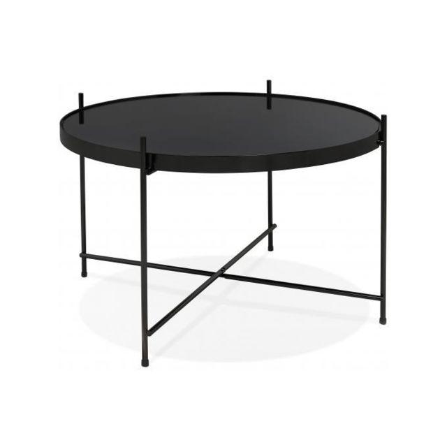 Declikdeco Table Basse Ronde Petite En Verre Noir Et Pietement