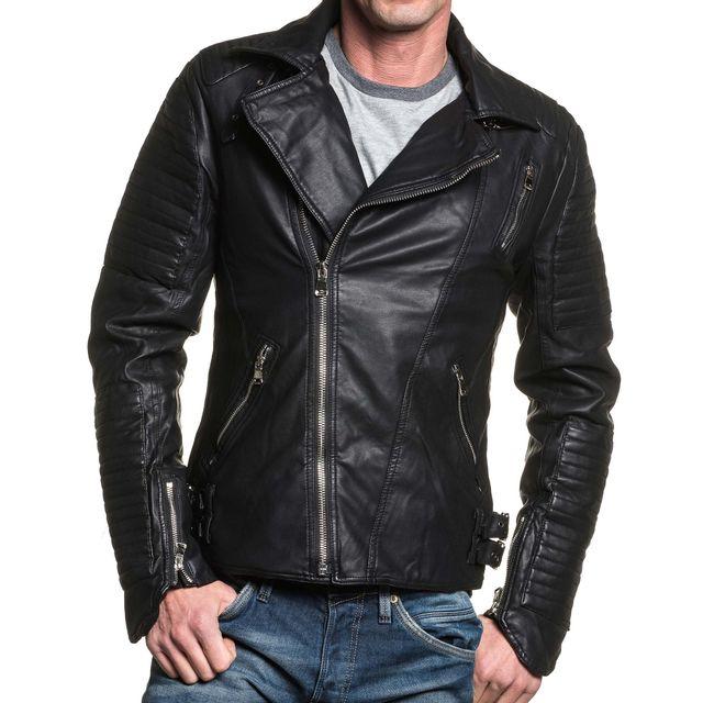 Homme Veste Blz Cher Noir Jeans Biker Vente Perfecto Pas Achat Tx5xgwqUE