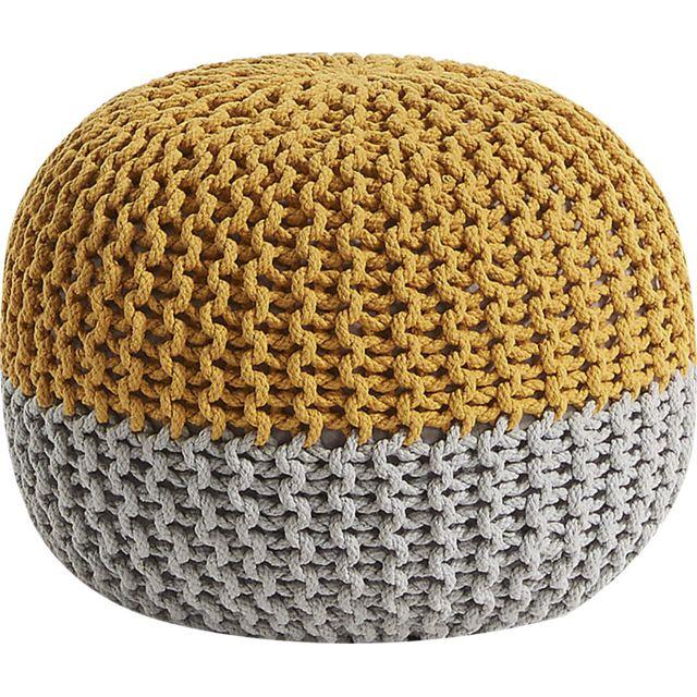 comforium pouf rond jaune et gris avec housse tricot e. Black Bedroom Furniture Sets. Home Design Ideas