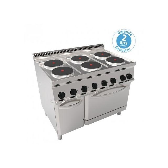 Materiel Chr Pro Fourneau sur four électrique ventilé Gn 1/1 et placard - 6 plaques rondes - gamme 700 - modules 350 - Tecnoinox - 700
