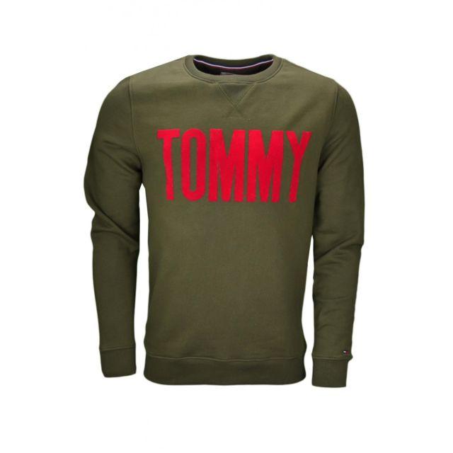 9b0efc7332d2 Tommy hilfiger - Sweat col rond Dénim Inscription vert kaki pour homme -  pas cher Achat   Vente Sweat homme - RueDuCommerce