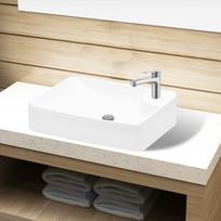 Rocambolesk - Superbe Vasque à trou pour robinet céramique Blanc pour salle de bain neuf