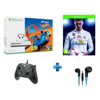Console XBOX ONE S 1TO BLANCHE + FORZA HORIZON 3 + HOT WHEELS XBOX ONE + FIFA 18 - Xbox One + Syva + Manette filaire Xbox One Noire Camo