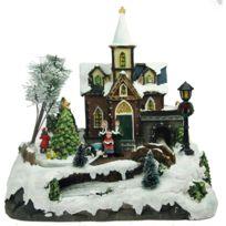 Imagin - Village de Noël lumineux animé - 28 x 27 cm - Eglise et sapin