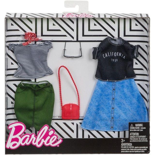 Barbie - Coffret 2 Habits   Tenue Mode Robe Jean Et T-shirt - Jupe ... c50e94ff99fe