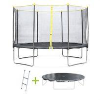 Pack trampoline Ø 370cm Okapi, avec filet, échelle et bâche de protection