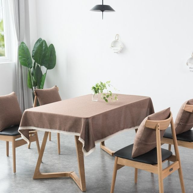 Wewoo Housse de table de salle à manger en lin imitation décorative et nappetaille 110x160cm brun foncé