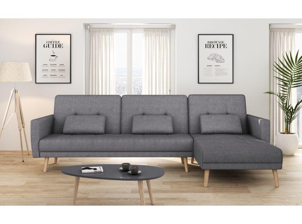 Canapé d'angle réversible et convertible 4 places tissu gris foncé ZOEY
