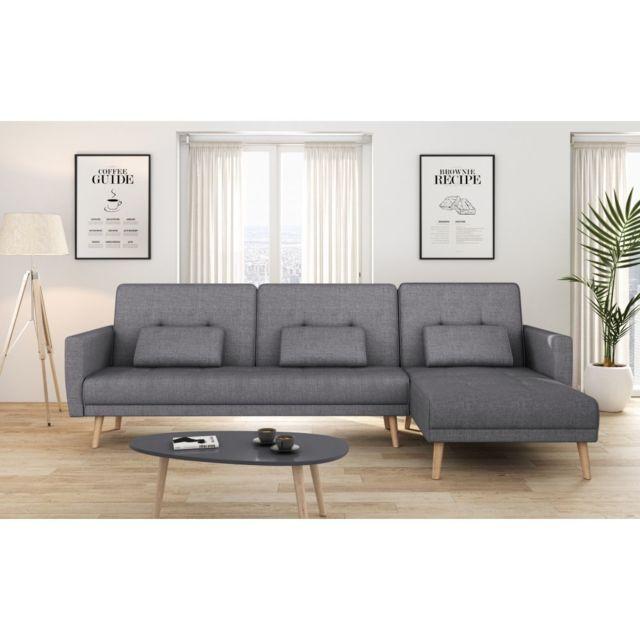USINESTREET Canapé d'angle réversible et convertible 4 places tissu gris foncé ZOEY