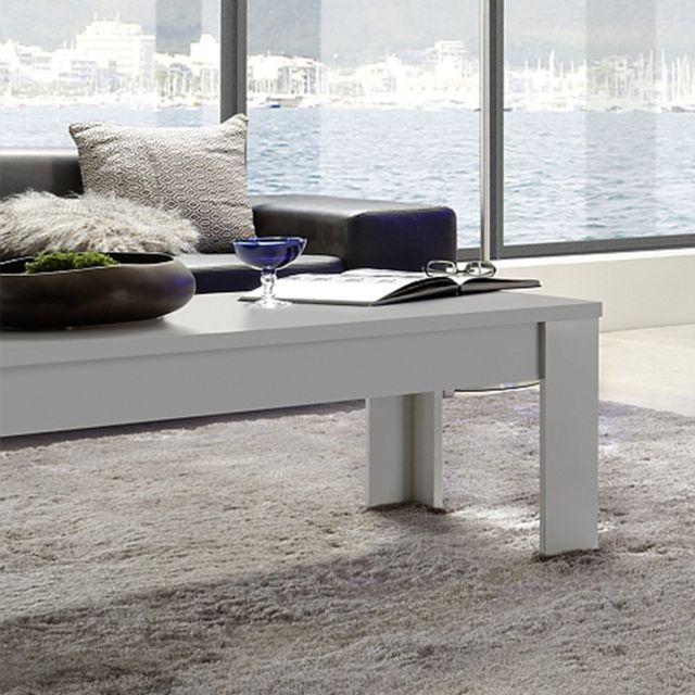Sofamobili Table basse blanc laqué mat Malt