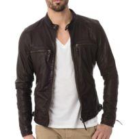 CITYZEN - Blouson Homme marron en cuir calcutta