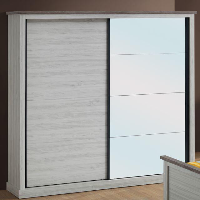 Nouvomeuble Armoire 2 portes coulissantes couleur chêne clair et marron Elaura