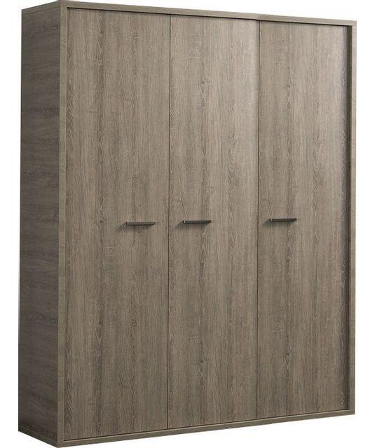 Comforium Armoire contemporaine à 3 portes battantes 153 cm pour enfant ou ado coloris chêne gris