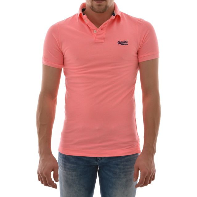 Superdry polos grindle ss pique polo rose Xxl pas cher