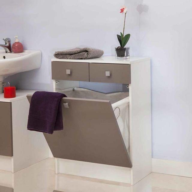Rangement salle de bain avec tiroirs et bac à linge Banio - Taupe